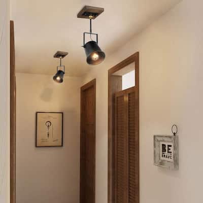 1-Light Modern Farmhouse Black Track Lighting Head Adjustable Wood Wall Sconce Pendant Light