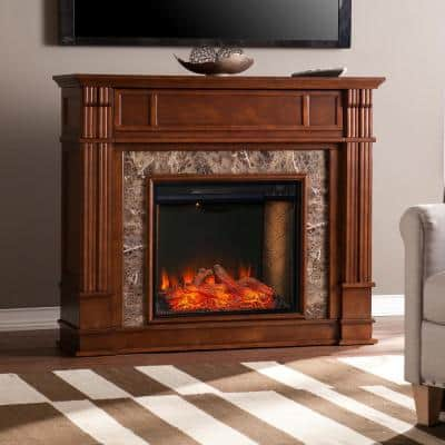 Treshelle Alexa-Enabled 48 in. Electric Smart Fireplace in Whiskey Maple