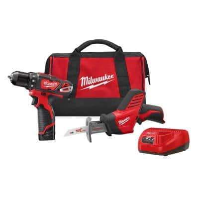 M12 12-Volt Lithium-Ion Cordless Drill/Driver and HACKZALL Combo Kit (2-Tool) with Two 1.5 Ah Batteries, Charger and Bag
