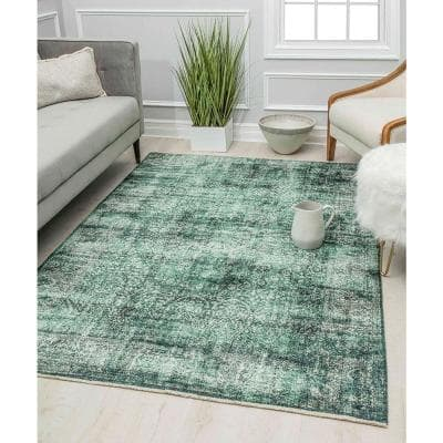 Isle Green Grooves 8 ft. x 10 ft. Transitional Vintage Area Rug