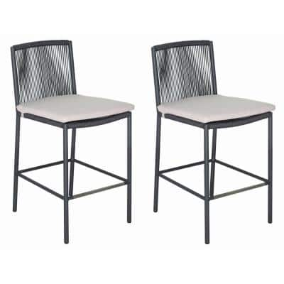 Skopelos Gray Aluminum Outdoor Dining Stool Counter Height with Taupe Cushion (2-Pack)