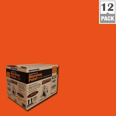 15 oz. 2X Marking Fluorescent Red Orange Contractor Spray Paint (12-Pack)