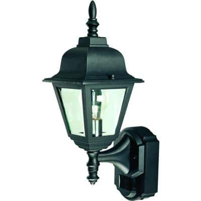 180 Degree Black Country Cottage Wall Lantern Sconce with Clear Beveled Glass