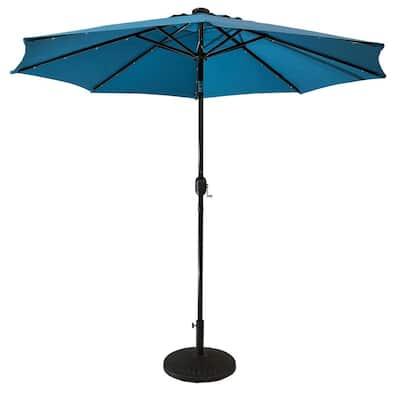 9 ft. Steel Market Solar Lighted 8-Rib Round Patio Umbrella in Teal