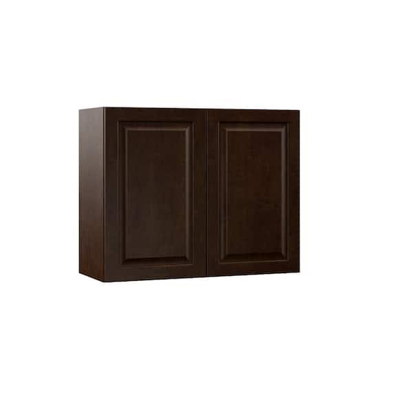 Hampton Bay Designer Series Gretna Assembled 30x24x12 In Wall Kitchen Cabinet In Espresso W3024 Gres The Home Depot