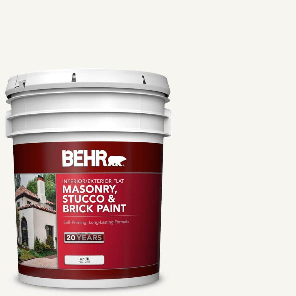 5 gal. White Flat Latex Masonry, Stucco and Brick Interior/Exterior Paint