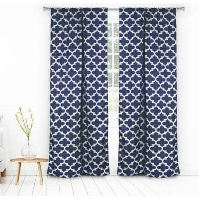 Navy Trellis Thermal Blackout Curtain - 38 in. W x 84 in. L (Set of 2)