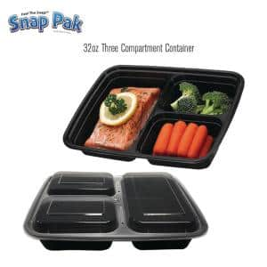 32oz. 3-Compartment Square Plastic Food Storage / Meal Prep Containers with Lids. (40-Pack)