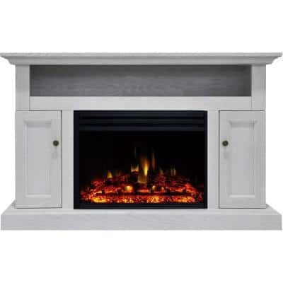 Sorrento 47 in. Electric Fireplace Heater TV Stand in White with Enhanced Log Display and Remote Control