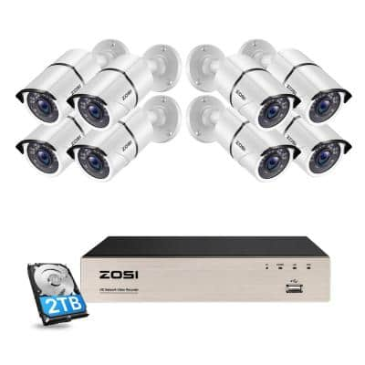 8-Channel 5 MP 2TB POE NVR Security Camera System with 8 Wired Bullet Outdoor Camera 120 ft. Night Vision