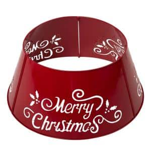 26 in. Dia Merry Christmas Diecut Metal Tree Collar with Light String(KD)