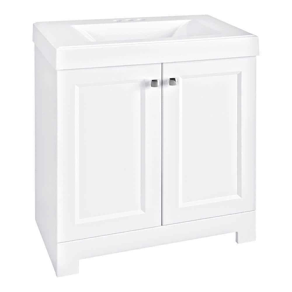 Glacier Bay Shaila 30 5 In W Bath Vanity In White With Cultured Marble Vanity Top In White With White Basin Ppsofwht30 The Home Depot