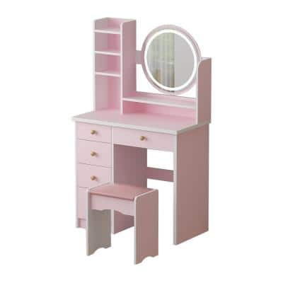 5-Drawers Pink Makeup Vanity Set with Stool Dressing Desk Wood Vanity with LED Round Mirror and Storage Shelves