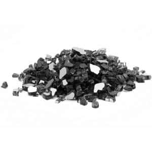 1/4 in. 10 lb. Black Reflective Tempered Fire Glass