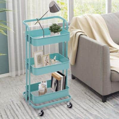 35 in. 3-Tier Metal Foldable Rolling Utility Cart in Teal