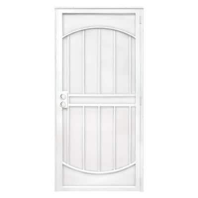 36 in. x 80 in. ArcadaMAX White Surface Mount Outswing Steel Security Door with Perforated Metal Screen