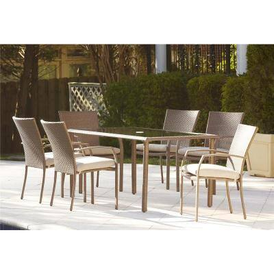 Lakewood Ranch Brown 7-Piece Steel Woven Wicker Outdoor Patio Dining Set with Tan Cushions