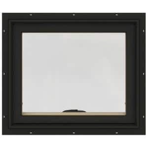 24 in. x 20 in. W-2500 Series Bronze Painted Clad Wood Awning Window w/ Natural Interior and Screen