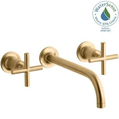 Purist Cross Handle 2-Handle Wall Mount Bathroom Sink Faucet Trim Kit in Vibrant Brushed Gold (Valve Not Included)