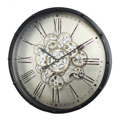 Roman Numeral Gear Wall Clock - Black