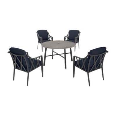 Harmony Hill 5-Piece Black Steel Outdoor Patio Dining Set with CushionGuard Midnight Navy Blue Cushions