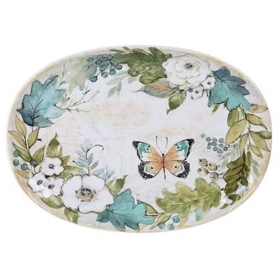 Nature Garden Oval 16 in. Multicolored Platter