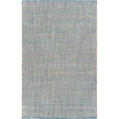 Bleached Naturals Bleach / Ivory Blue 5 ft. x 7 ft. 9 in. Braided Area Rug