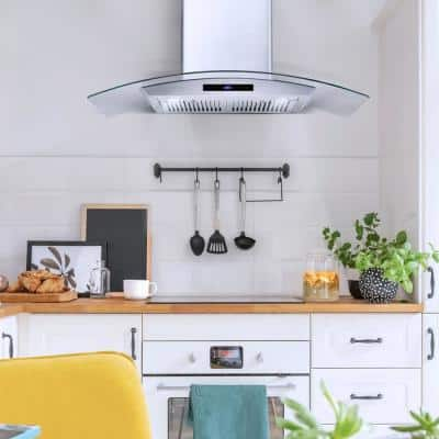 36 in. Ducted Wall Mount Range Hood in Stainless Steel with Touch Controls, LED Lighting and Permanent Filters