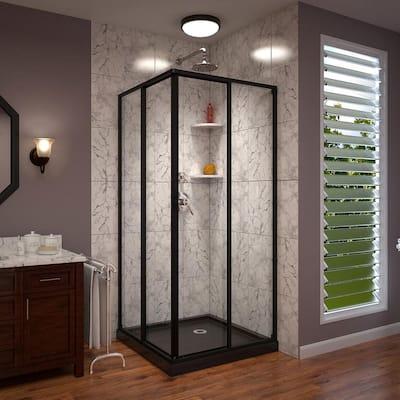 Cornerview 34 in. W x 72 in. H Framed Sliding Shower Door in Satin Black with 36 in. x 36 in. Base in Black