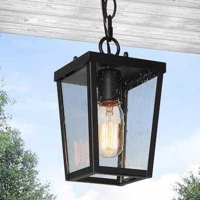 1-Light Black Modern Farmhouse Outdoor Pendant Light with Seeded Glass Shade