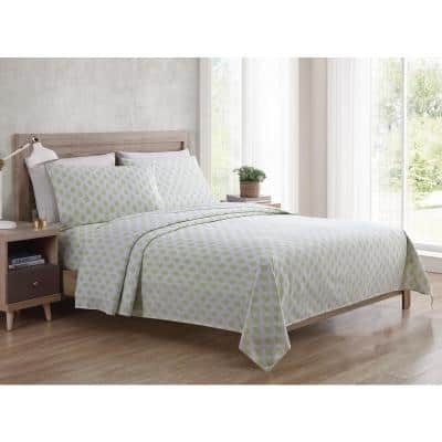 Bedding Sheet Set, Paisley - Green, 4pc Full
