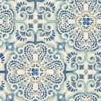 Blue Florentine Tile Vinyl Peel & Stick Wallpaper Roll (Covers 30.75 Sq. Ft.)