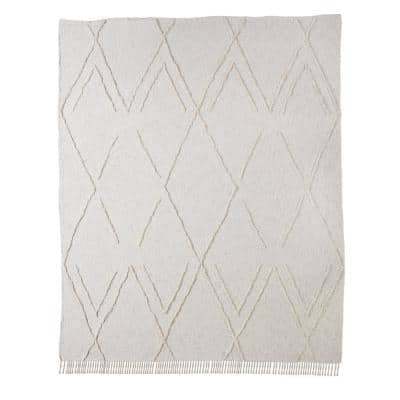 Dazzling Ivory Solid Diamond King Cotton Coverlet