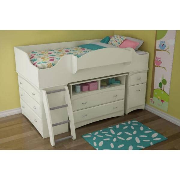 Reviews For South Shore Imagine 4 Drawer Pure White Twin Size Loft Bed 3560a3 The Home Depot