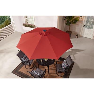 9 ft. Aluminum Market Solar Tilt Patio Umbrella in Chili