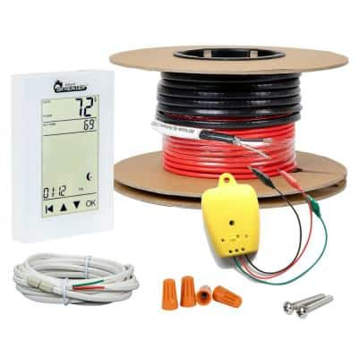 Electric Radiant Floor Heating Cable Kit with Wi-Fi Thermostat 165 ft., Covers 50 sq. ft./120-Volt, Red and Black