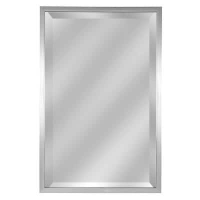 Medium Rectangle Brushed Pewter Beveled Glass Contemporary Mirror (29.5 in. H x 19 in. W)