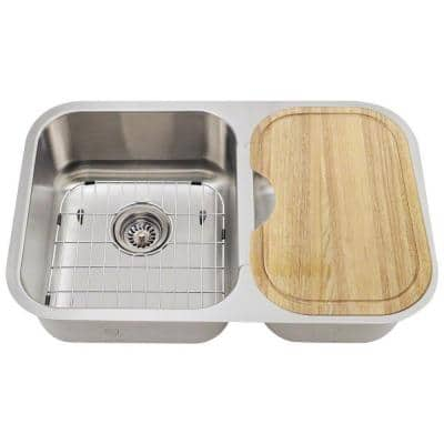 Undermount Stainless Steel 28 in. Double Bowl Kitchen Sink Kit
