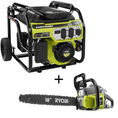 6,500-Watt Gasoline Powered Portable Generator w/ CO Shutdown Sensor & 18 in. 38cc 2-Cycle Gas Chainsaw with Case