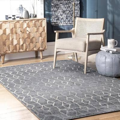 Gray Abstract 7 X 9 Area Rugs Rugs The Home Depot