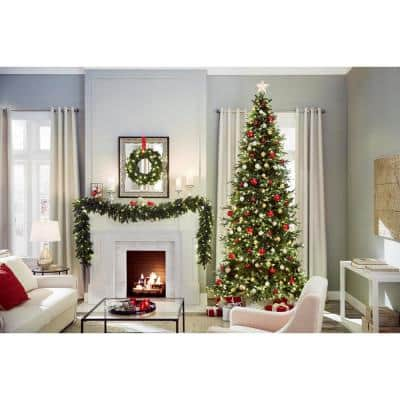 12 ft. Battery Operated Pre-Lit LED Artificial Meadow Fir Garland with 400 Tips, 80 Warm White Lights and Timer