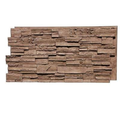 Earth Valley Faux Stone 48-3/4 in. x 24-3/4 in. Cappuccino Class A Fire Rated Urethane Interlocking Panel