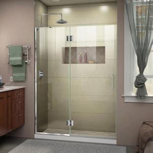 Unidoor-X 51 in. x 72 in. Frameless Hinged Shower Door in Chrome
