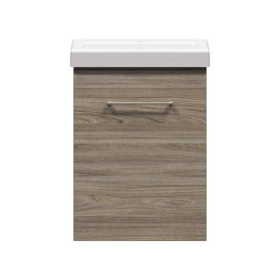 Langsett Wall Hung 17-1/2 in. W x 13-1/2 in. D Vanity in Savanna with Porcelain Vanity Top in White With White Basin