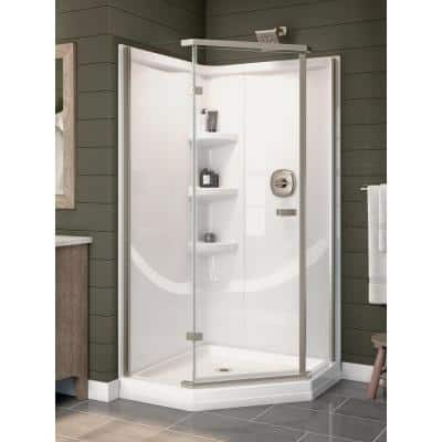 38 in. L x 38 in. W x 72 in. H Corner Drain Neo-Angle Base/Wall/Door Shower Stall Kit in White and Chrome
