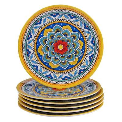 Portofino 6-Piece Seasonal Multicolored Melamine 9 in. Salad Plate Set (Service for 4)