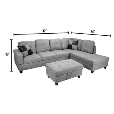 3-Piece Light Gray Linen 4-Seater L-Shaped Left-Facing Chaise Sectional Sofa with Ottoman