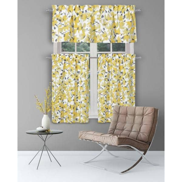 Vera Grey Yellow Floral Rod Pocket Room Darkening Curtain 58 In W X 15 In L Set Of 2 Marg 14099d 12 The Home Depot