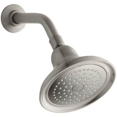 Devonshire 1-Spray 5.9 in. Single Wall Mount Fixed Shower Head in Vibrant Brushed Nickel