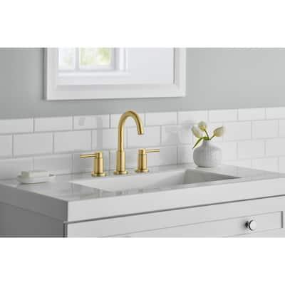 Dorind 8 in. Widespread 2-Handle High-Arc Bathroom Faucet in Matte Gold